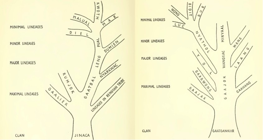Evans-Pritchard's (1940) diagrammatic lineage trees of the Jinaca (196/l) and Gaatgankiir (197/r).