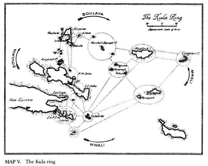 Malinowski's (1922: 63) famous map of the Kula ring.