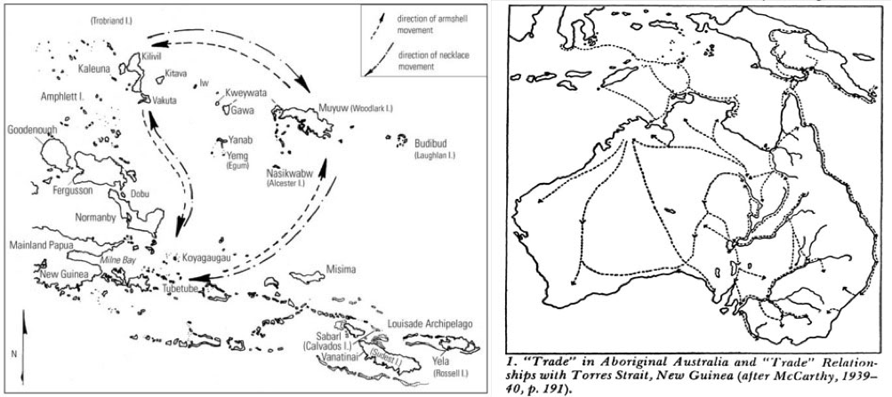 (Left) Damon's (2002: 108) map of locations within and around the Kula ring adopts cartographic norms and scales, and focuses on the names of locations (as part of a paper focusing on the production of 'fame' within the system's exchanges). (Right) An earlier map (from Herskovits' landmark Economic Anthropology 1952: 200) tracing historical trade routes for various commodities exchanged across the Australian continent, with trade connections extending to the 'Torres Strait islands and Western Papua'.